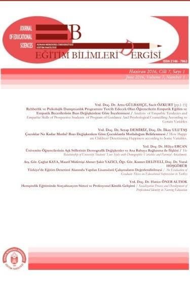 Adnan Menderes Üniversitesi Eğitim Fakültesi Eğitim Bilimleri Dergisi