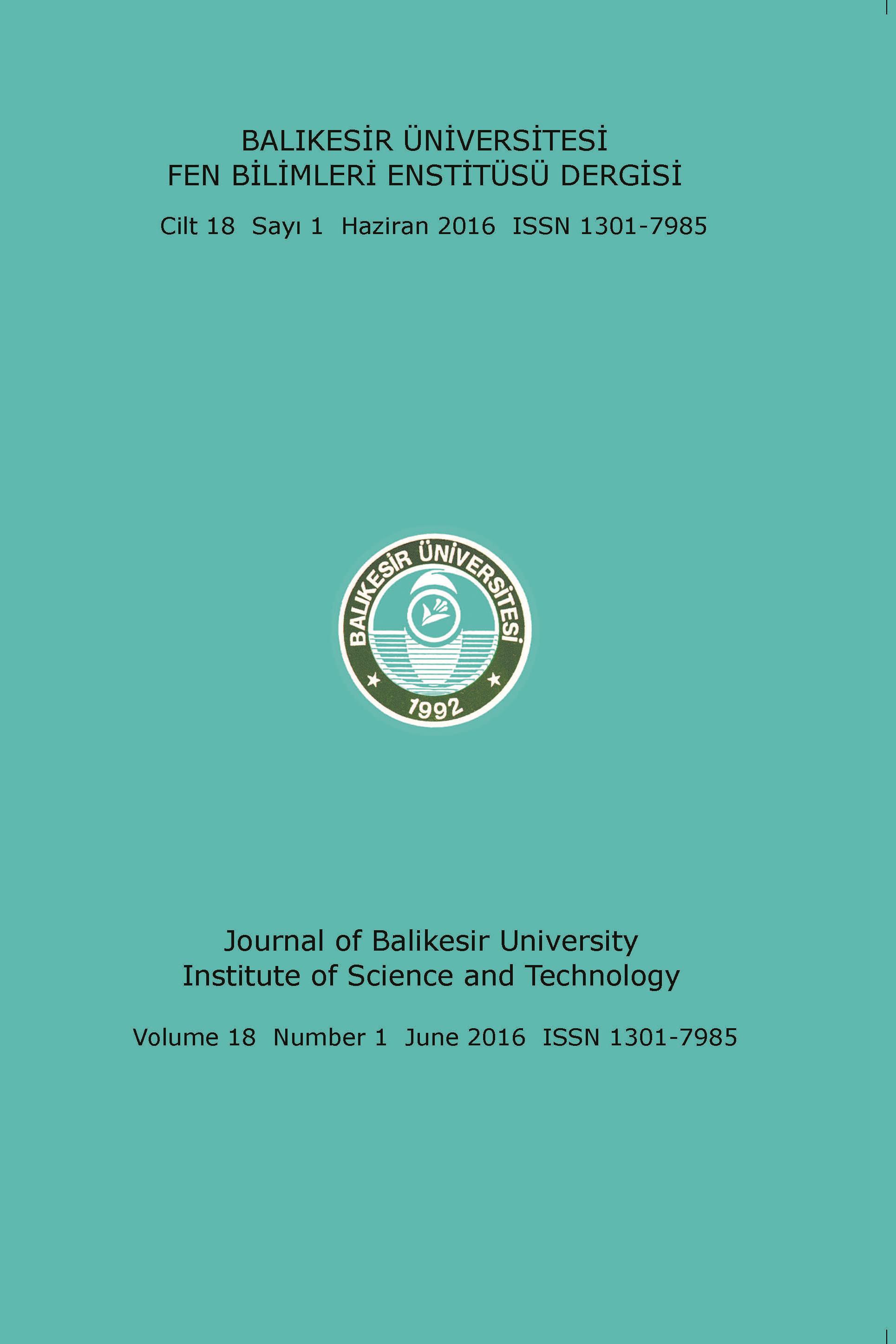 Balıkesir Üniversitesi Fen Bilimleri Enstitüsü Dergisi